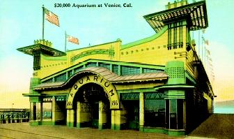 This postcard from 1909 depicts the aquarium in Venice, California. Originally built in that year for $20,000, the aquarium later became the marine biological station for the University of Southern California.