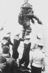 Bulky dive suits were used in early explorations of the 1915 wreck of the Lusitania. The ocean liner was sunk by a German U-boat off the southern coast of Ireland, killing 1,959 aboard and influencing the course of World War I.