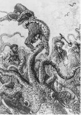 "Sea monsters in literature often are exaggerations of naturally occurring creatures. An enormous and ""hostile"" giant squid became a menacing foe in Jules Verne's 1873 classic Twenty Thousand Leagues Under the Sea."