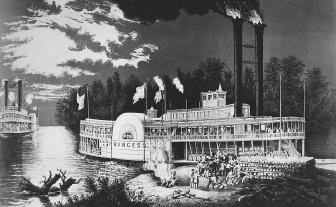 The riverboat era was romanticized by various painters in the nineteenth century. This print by Currier and Ives shows a Mississippi riverboat loading logs.