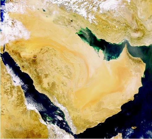 This satellite view of the Arabian Peninsula illustrates gulfs, a strait, and marginal seas. The narrow Strait of Hormuz (center right) connects the Persian Gulf (interior) and the Gulf of Oman (far right), which joins the Arabian Sea (bottom right). The Red Sea (and the Gulf of Aden) is at the bottom left.