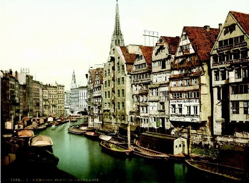 "Historically, canals were constructed to ""extend the sea,"" thereby connecting the sea with cities, and cities with the countryside. This scene of Hamburg, Germany in 1864 illustrates how canals influenced city life and culture."