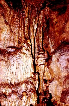 Coppingers Cave in east-central Tennessee is a solutional cave in an area of karst topography. Dripping and flowing water creates its features, such as this flowstone.