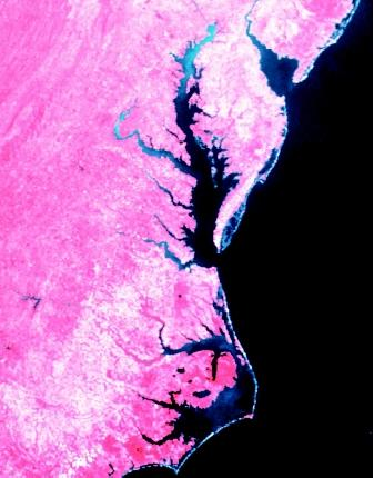 Cape Hatteras (lower right), Chesapeake Bay (middle), and Delaware Bay (upper right) are visible from this satellite image. The Atlantic Ocean is to the right.