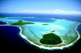 Tetiaroa in French Polynesia's Society Islands is an atoll reef that formed at the edge of an old submerged volcano. It forms an irregular ring around a shallow central lagoon, and its outside edges drop steeply to the ocean floor.