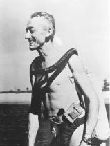 Jacques Cousteau developed, with Émile Gagnan, the first aqualung in 1943. For the next 50 years, he explored the world's oceans.