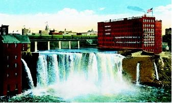 Water is a key component in local, regional, and national economic development. A postcard from the early twentieth century illustrates the historical siting of factories and urban centers near a steady water-supply source: in this case, the Genesee River (and its upper falls), New York.