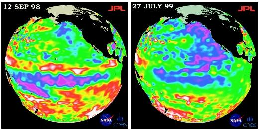 These two pseudo-color satellite images show variable conditions in the Pacific Ocean in 1998 and 1999. Red and white are increased heat storage; purple and blue are low sea level; and green is normal conditions.