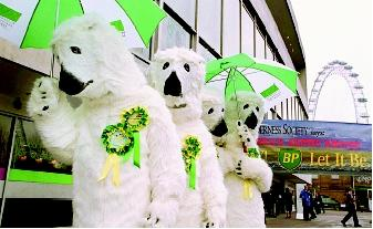 Water-related issues are important to environmental agendas. These activists, protesting outside an annual meeting of BP Amoco, opposed Amoco's proposed offshore oil drilling in the Arctic Ocean. Their dress as polar bears symbolized potential impacts on the region's ecosystems.