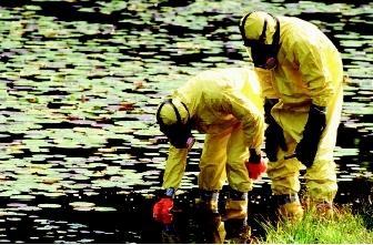 Environmental scientists may sample lakes, rivers, wetlands, estuaries, or aquifers that have become contaminated. Protective suits and respirators are required when scientists may be exposed to hazardous materials.