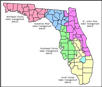 In 1972, the state of Florida created five water management districts. These districts are designed to manage and protect water resources by balancing and improving water quality, flood control, natural systems, and water supply, as well as environmental protection.
