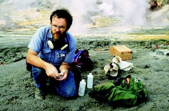 Scientists of the U.S. Geological Survey (USGS) specialize in various subdisciplines of geology, hydrology, biology, and mapping. This USGS volcanologist takes soil, water, and gas samples from Mount Pinatubo's caldera in the Philippines.