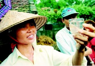 Using tiny crustaceans that eat mosquito larvae is one method of controlling mosquitoes that cause dengue fever. This Vietnamese woman inspects mesocyclopes in a cup of water drawn from a village water tank. Dengue is a serious public health threat for two-thirds of the world's population.
