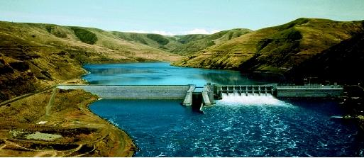 "The Lower Granite Dam on the Snake River in Washington state is a ""run-of-the-river"" hydroelectric dam operated by the U.S. Army Corps of Engineers. The Bonneville Power Administration, a federal agency located in the Pacific Northwest, markets wholesale electricity and transmission from Lower Granite and twenty-nine other federal dams. From left to right is the dam's earthen embankment; locks; the spillway; and the powerhouse."