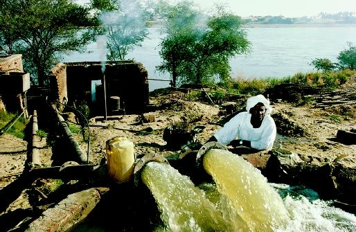 The Nile River is essentially the sole source of water supply for Egyptian irrigation, as represented by this farmer and his pump. In this arid region, the cooperation of Sudan (the upstream nation) is needed to ensure sufficient and usable river water reaches Egypt (the downstream nation).