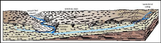 This generalized cross-section illustrates karst features such as sinkhole plains, dry streambeds (due to stream piracy), and underground drainageways. Karst topography develops when carbonate rocks are dissolved by water, which, as natural rainwater, is slightly acidic.