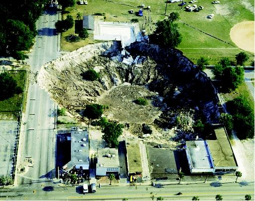 On May 9, 1981, a large sinkhole collapsed in Winter Park, Florida, swallowing a house, five Porsches at a luxury car dealership, and half of an Olympic-sized swimming pool. The sinkhole collapse occurred when carbonate bedrock had dissolved to the point that it could no longer support the weight of the overlying soil and sediment. The city of Winter Park stabilized and sealed the sinkhole, converting it into a 107-meter-wide (350-foot-wide) urban lake.