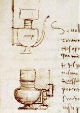 These two sheets from the Codex Leicester show Leonardo da Vinci's firm grasp of hydraulics. On left, he provides a geometric analysis of river flow and riverbank erosion. On right, he illustrates a water pressure device amidst a broader discussion of the weight and power of water. The handwriting is deliberately backwards, making it difficult to decipher.