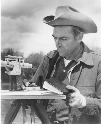 Luna Leopold is best known for his integration of engineering, science, and policy, but his legacy extends to environmental protection, land-use management, and watercontrol policies. He is shown here in 1979 near Pinedale, Wyoming.