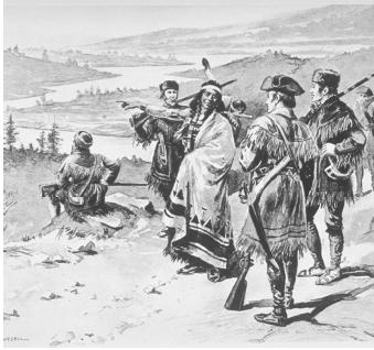 Meriwether Lewis and William Clark relied on Sacagawea of the Shoshone Tribe to serve as a guide and interpreter during portions of their expedition to find the Northwest Passage. Sacagawea, with her infant son Jean-Baptiste Charbonneau, was the only woman to accompany the thirty-three members of the permanent party to the Pacific Ocean and back.