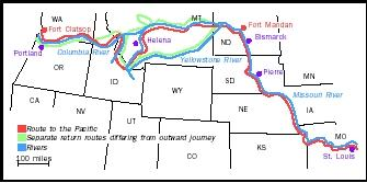 Lewis and Clark's outbound route is shown in red, and return route in green. The expedition occurred between May 1804 and September 1806.