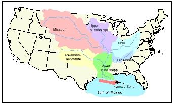 Mississippi River Basin Building Effects Percentage Important - Us map mississippi river