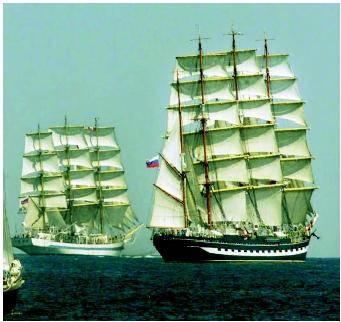 Tall ships keep alive the history of ocean navigation. Today, ships such as these call to mind images of merchant ships from long ago and pirates in their heyday during the eighteenth century.