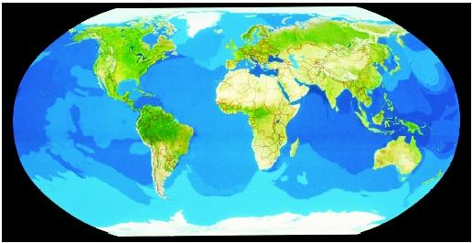 The world ocean with five major subdivisions covers nearly three-fourths of Earth's surface. From left to right are the easily recognizable eastern Pacific, Atlantic, Indian, and western Pacific Oceans, whereas the Arctic Ocean (top) and Antarctic (Southern) Ocean (bottom) are less apparent.