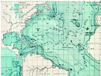 Pacific Ocean Topographic Map.Ocean Floor Bathymetry River Sea Depth Oceans Percentage