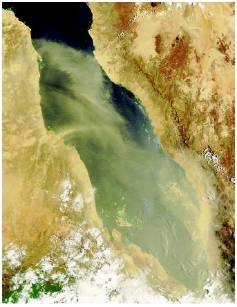 Wind-swept desert sands not only produce a cooling effect due to deflection of incoming solar radiation, but they also deposit sand, silt and dust on the ocean surface and ultimately on the ocean floor. (Shown here is a dust storm over the Red Sea.) Through mineralogical and chemical analysis, scientists can recreate historical patterns in climate and geological development.