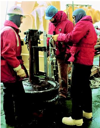 These physical oceanographers studying the Ross Sea in Antarctica derived a makeshift depth profiler by mounting a recording conductivity–temperature–depth (CTD) device on a trainwheel.