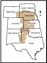 The Ogallala Aquifer (shaded area) is in a state of overdraft owing to the current rate of water use. If withdrawals continue unabated, the aquifer could be depleted in only a few decades.