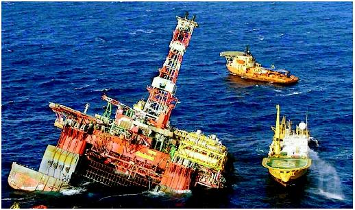 Offshore petroleum production yields tremendous economic benefits yet presents substantial risk to human life and the environment. In March 2001, the Brazilian-owned Petrobras oil rig collapsed after explosions destroyed its substructure, and several workers were killed. The company collected or dispersed all but 3,200 gallons of waste oil at the location, averting a major spill.