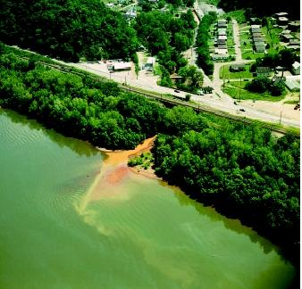 This drainage outlet delivering polluted runoff into the Ohio River is a point source of pollution because the pollution originates from a single, identifiable source.