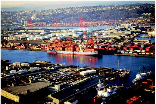 About 95 percent of all U.S. trade passes through its nationwide system of ports. Terminal facilities like those visible here in the Port of Seattle handle container cargo moving between water-based and land-based transport systems.