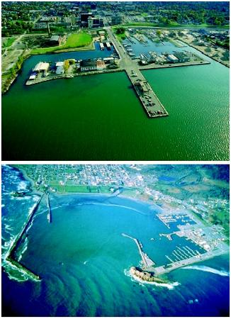 Harbors vary in location, construction, and purpose. The inner harbor area at Erie, Pennsylvania exemplifies a lake harbor (Lake Erie, top). California's Crescent City harbor is a coastal harbor with breakwaters (Pacific Ocean, bottom).