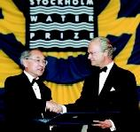 The Stockholm International Water Institute annually awards the Stockholm Water Prize (comparable to Nobel Prizes in other disciplines) in honor of outstanding achievements related to protection of the world's water resources. Here Sweden's King Carl XVI Gustaf (right) awards the 2001 prize to professor Takashi Asano (left) of the University of California at Davis. Asano was honored for spearheading wastewater reclamation and reuse projects, improving techniques for assessing the risk of microbial contamination in reused water, and promoting solutions to water-scarcity problems in developing countries.