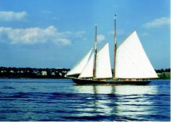 Sailing is a popular activity that can be undertaken on the high seas and in coastal waters as well as on inland lakes, reservoirs, and large rivers. Wind-driven watercraft can range in size from small (e.g., catamarans) to large (e.g., schooners). This sailboat passes through Nova Scotia's Halifax Harbor.