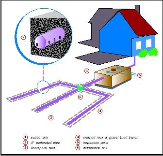 Figure 1. The most common way to treat and dispose of wastewater in rural homes is through an onsite (unsewered) disposal system. The majority of onsite disposal systems in the United States are septic systems.