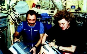Amerian astronaut Shannon Lucid and Russian cosmonaut Yuri Usachev prepare a meal on the Russian space station Mir in 1996. Cosmonaut Valeri Polyakov, who drank recycled water for 18 months while living onboard the Mir, said it tasted very good.