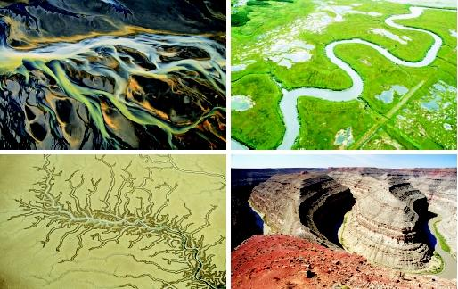 This series of photos shows common channel geometries. Clockwise from top left: (a) a braided portion of the Pjorsa River in Myrdalssandur, Iceland; (b) a shallow, meandering stream in New Brunswick, Canada; (c) a deeply incised meander bend (305 meters [1,000 feet] below the canyon rim) of the San Juan River in Utah (United States); and (d) the dendritic (branching) drainage network of a stream system in Kakadu National Park, Australia.
