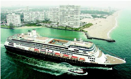 Cruise ships offer an array of shipboard activities (such as board and card games, casino gambling, deck sports and pool activities, theme parties, music, and entertainment) and shore excursions (such as sightseeing and adventure tours). Here the ms Amsterdam departs Port Everglades in Fort Lauderdale, Florida.