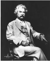 Prior to the Civil War, Mark Twain worked as a river pilot and gained detailed knowledge of the 1,200 miles of the Mississippi River between St. Louis and New Orleans. This portrait by A. F. Bradley (c. 1906) was taken to benefit victims of the 1906 San Francisco earthquake.