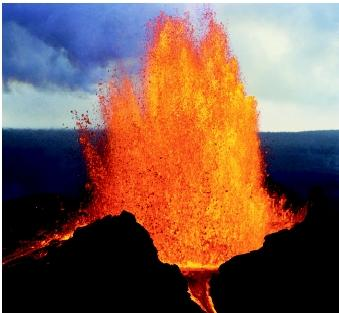 Hawaii's Puu Oo, the easternmost of Kilauea's craters, spews molten lava in a non-explosive eruption in 1985. Episodic lava fountains in the mid-1980s built a massive cone which partially collapsed in the late 1990s.