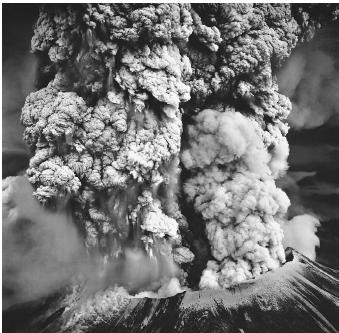 The explosive eruption of Mount Saint Helens in the Cascades Range of western Washington blew off 375 meters (1,235 feet) of the mountaintop and rained ash as far as 800 kilometers (500 miles) to the east. The energy released by the May 18, 1980 eruption was equivalent to the explosion of 500 atomic bombs of the type dropped on Hiroshima, Japan during World War II.