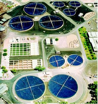 wastewater treatment plant supporting primary and secondary