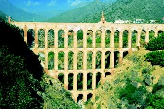 Remnants of ancient and modern-day aqueducts can be found worldwide. Shown here is the Eagle Aqueduct (El Acueducto del Aguila), which was built in the nineteenth century to move water from the town of Nerja, Spain to nearby Maro, where the local sugar mill was located. Older aqueduct systems often involved vast networks of interlinking segments.