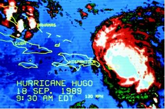 Because weather experts were able to track Hurricane Hugo in 1989 with satellite images before it struck Charleston, South Carolina, many lives were saved in an early evacuation. Three days before crashing into the eastern seaboard of the United States, Hugo churned winds of 325 kilometers per hour (130 miles per hour) over the Caribbean.
